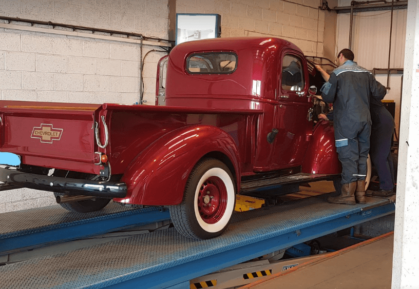 Classic truck being repaired